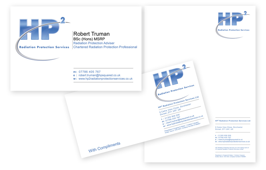 Web design logos graphic design dorchester dorset fg design business card stationery design poundbury dorset hp2 hp2 is dedicated in offering radiation safety training courses throughout the uk reheart Images